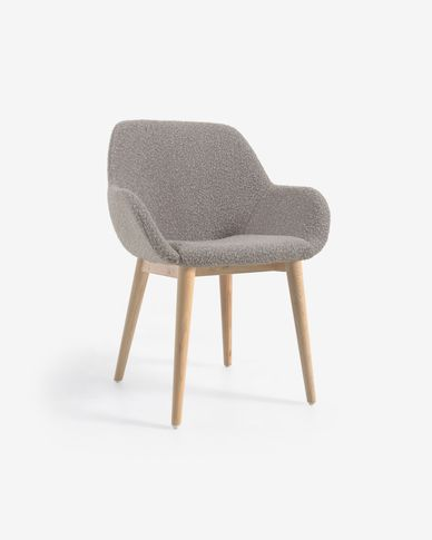 Konna chair in light grey shearling with solid ash wood legs
