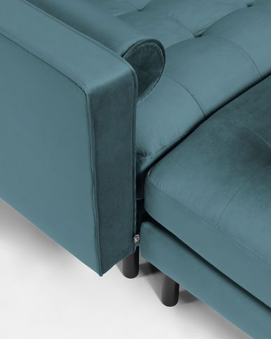 2-zitsbank Debra turquoise velvet met voetenbank 182 cm