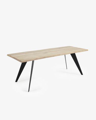 Table Koda 220 cm chêne blanchi pieds noir