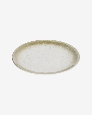 Bord Elida plat van keramiek in beige en groen