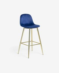 Blue fabric Nolite barstool height 75 cm