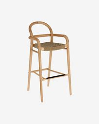 Sheryl stool made from solid eucalyptus and beige cord 79 cm