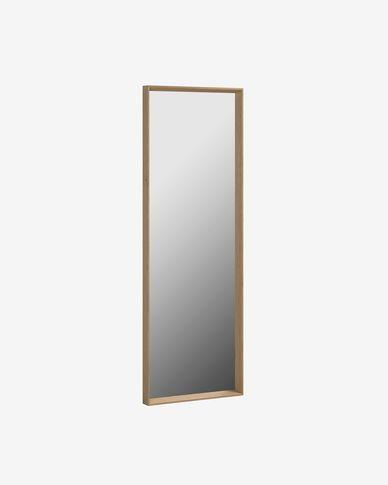 Espelho Nerina 52,5 x 152,5 cm moldura larga acabamento nogueira