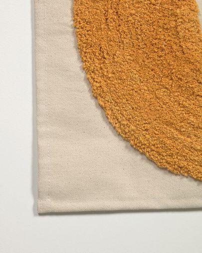 Tapiz mural Hoshi 100% algodón luna mostaza y estrella marrón 40 x 40 cm