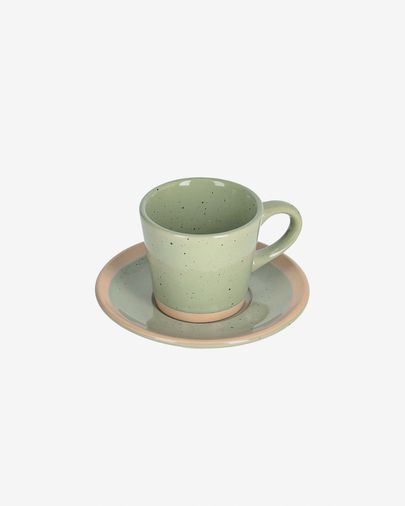 Tasse à café avec soucoupe Tilia en céramique vert clair
