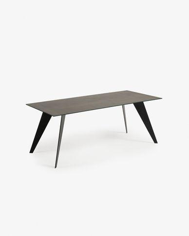 Tavolo Koda 200 cm porcellanato finitura Iron Moss gambe nero