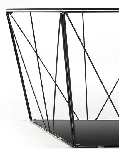 Mesa de centro Tilo cristal y estructura de acero acabado negro 60 x 60 cm