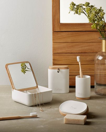 Elora white and beech soap dispenser