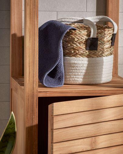 Armario de baño Kuveni 40 x 182 cm de madera maciza de teca