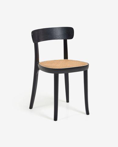 Cadira Romane fusta massissa faig negre amb xapa de freixe i ratan