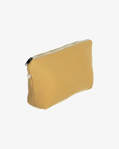 100% organic cotton (GOTS) Breisa wash bag in mustard yellow