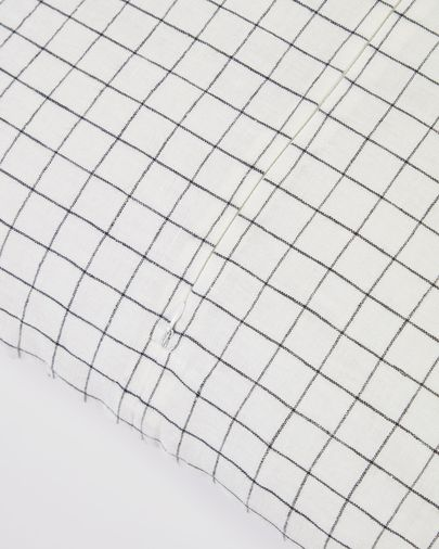 Maialen 100% linen cushion cover with white squares and black grid 45 x 45 cm