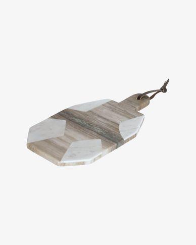 Tagliere da portata semicircolare Vanina in marmo bianco e grigio