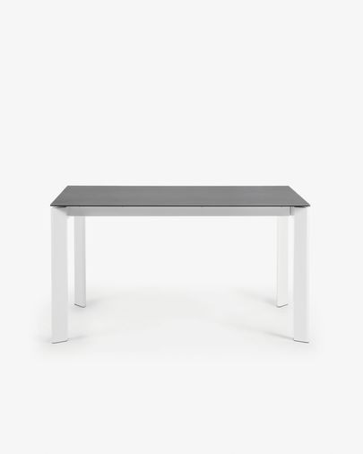Extendable table Axis 140 (200) cm porcelain Vulcano Roca finish white legs