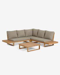 Flaviina set with a 5-seater corner sofa and a solid acacia wood table (100% FSC)