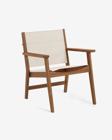 Hilda solid acacia outdoor armchair in beige