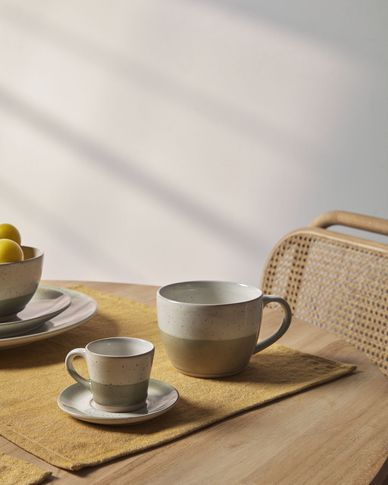 Koffiekop en schotel Elida van keramiek in beige en groen