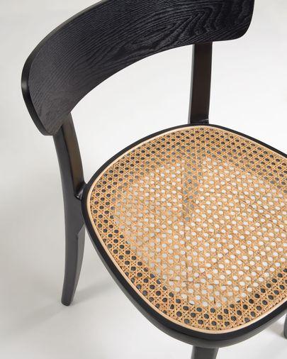 Silla Romane madera maciza haya acabado en negro con chapa de fresno y ratán