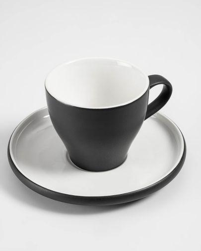 Tasse à café avec soucoupe Sadashi en porcelaine noir et blanc