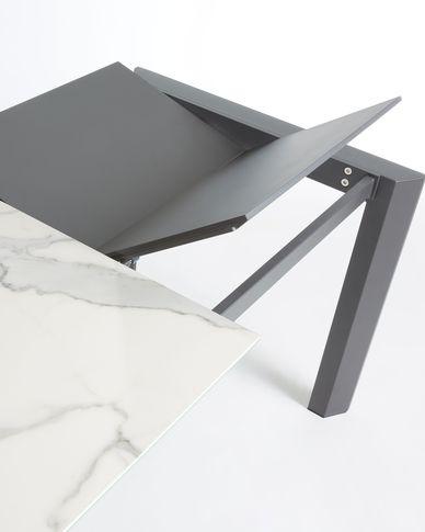 Extendable table Axis 140 (200) cm porcelain Kalos White finish anthracite legs