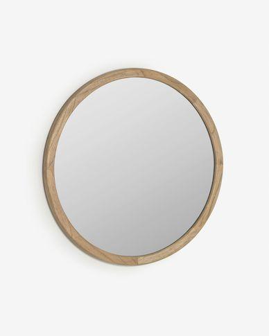 Specchio rotondo Alum in legno massello di mindi Ø 80 cm