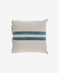 Ziza 100% cotton cushion cover with thick blue and white stripes 45 x 45 cm