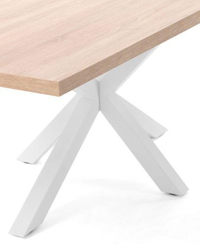 Mesa Argo 180 x 100 cm melamina acabado natural patas de acero acabado blanco
