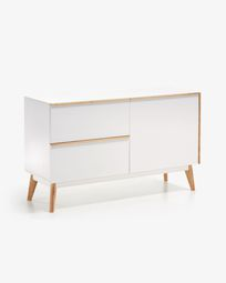 Aparador Melan 120 x 72 cm lacado branco e madeira maciça de seringueira