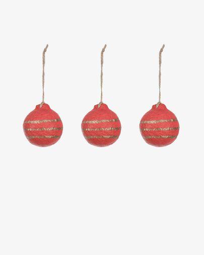 Set Galia palle decorative a righe rosso