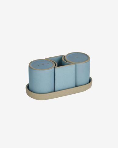 Midori ceramic salt and pepper set in blue