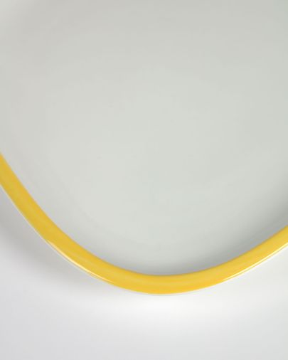 Assiette à dessert Odalin porcelaine blanc et jaune