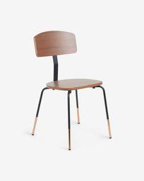 Oyaka Stuhl aus Walnussfurnier und Stahl mit Kupferdetails