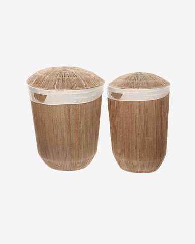 Zestaw Estibalis 2 okrągłe kosze na ubrania 100% juta z naturalnym wykończeniem
