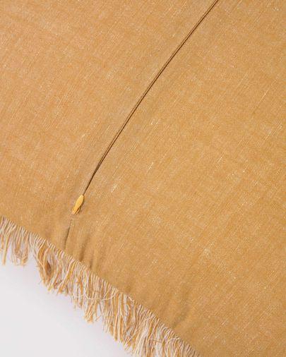 Funda cojín Abinadi de algodón y lino flecos mostaza 45 x 45 cm