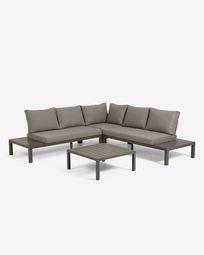 Modular 5 seater corner sofa and Duka table in brown aluminium