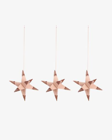 Set Belalia de 3 estrelles penjants decoratives rosa