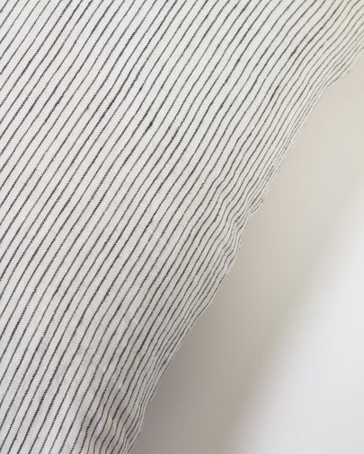 Funda cojín Marena 100% lino rayas negro 45 x 45 cm