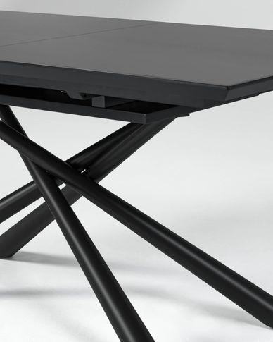 Theone ausziehbarer Tisch 160 (210) x 90 cm aus Glas und schwarzen Stahlbeinen