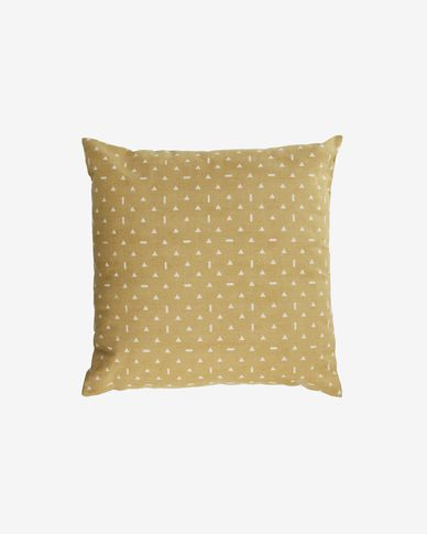Zale 100% cotton cushion cover in mustard with white triangles 45 x 45 cm