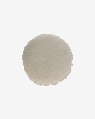 Poszewka na poduszkę Tamanne okrągła 100% len beżowa Ø 45 cm