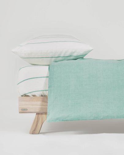 Set Gaitana funda nórdica, bajera y funda almohada 100% algodón GOTS turquesa 70 x 140 cm
