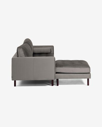 Debra 3-Sitzer Sofa mit Fußstütze grauer Samt 222 cm