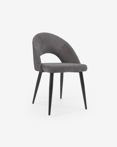 Grey chenille Mael chair with steel legs with black finish