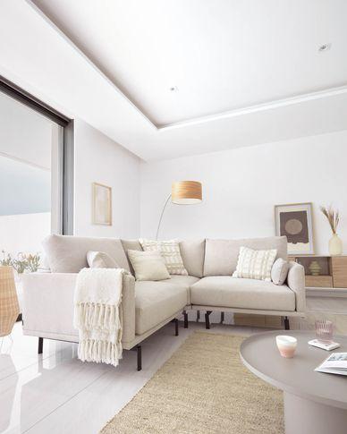Galene 2-seater corner sofa in beige, 207 x 207 cm