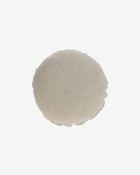 Beige, ronde kussenhoes Tamanne van 100% linnen Ø 45 cm