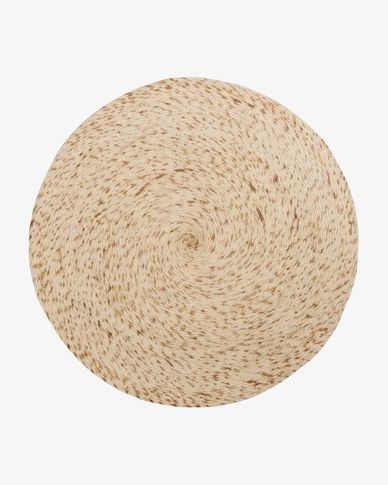 Catifa Takashi rodona 100% llana beix Ø 200 cm