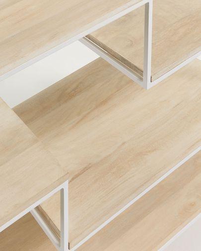 Estante Push 100 x 180 cm madeira maciça de mangueira e aço branco