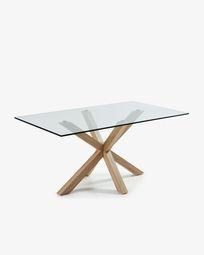 Argo tafel 180 cm glas hout effect benen
