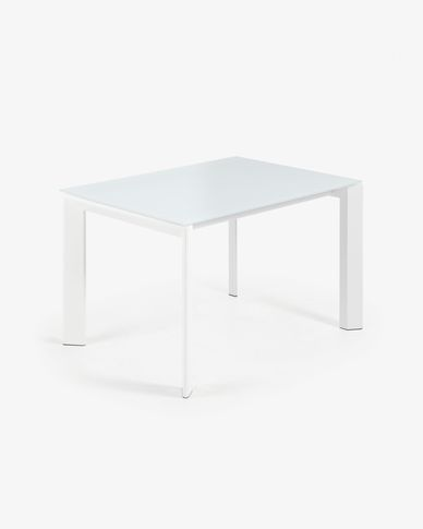 Table extensible Axis 120 (180) cm verre blanc pieds blanc