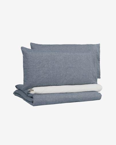 Eglant duvet cover, sheet & pillowcase set in blue GOTS cotton and linen 180 x 200 cm